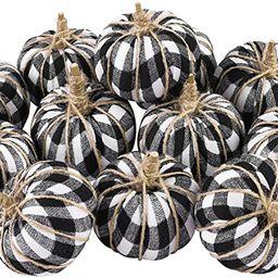 Aneco 12 Pieces Artificial Pumpkins Buffalo Plaid Pumpkins Harvest Decorations Fall Pumpkins for ...   Amazon (US)