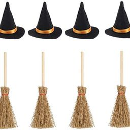Mini Witch Hats and Mini Broom Halloween Decorations Wizard Accessory for Halloween Party Birthda...   Amazon (US)