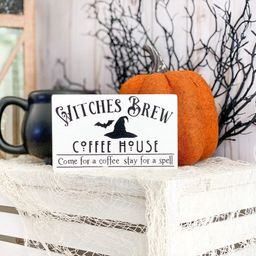 Witches Brew Coffee House mini wood sign for tiered trays   Halloween coffee bar home decor   Etsy (US)