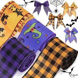 4 Rolls 20 Yards Halloween Burlap Ribbon Wired Edge Plaid Ribbon Fabric Craft Ribbon Halloween Ca...   Amazon (US)