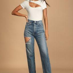 Popular Trends White Ribbed Short Sleeve Cutout Bodysuit | Lulus (US)
