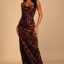 Romance in the Making Plum Purple Floral Print Velvet Maxi Dress   Lulus (US)