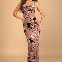 Romance in the Making Mauve Floral Print Velvet Maxi Dress   Lulus (US)