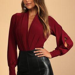 Friday Feeling Burgundy Long Sleeve Bodysuit | Lulus (US)