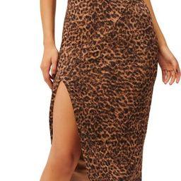 Leopard Print Mock Neck Midi Dress | Nordstrom
