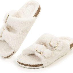 FITORY Womens Open Toe Slipper with Cozy Lining,Faux Rabbit Fur Cork Slide Sandals Size 6-11 | Amazon (US)