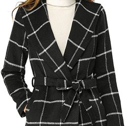 Allegra K Women's Shawl Collar Check Belted Wrap Plaid Coat with Pockets | Amazon (US)