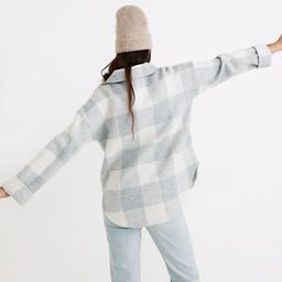 Boiled Wool Half-Zip Popover Sweater in Buffalo Check   Madewell