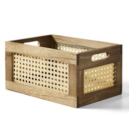 Better Homes & Gardens Small Wood And Poly Rattan Cane Weave Storage Crate - Walmart.com   Walmart (US)