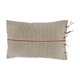 Creative Co-Op Beige & Black Striped Cotton Ticking Lumbar Pillow with Leather Trim - Walmart.com   Walmart (US)