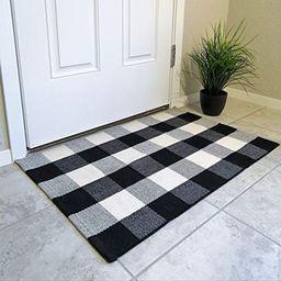 Buffalo Plaid Rug | Black and White Check Rug| Buffalo Plaid Door Mat| Plaid Door Mat Outdoor | F... | Etsy (US)