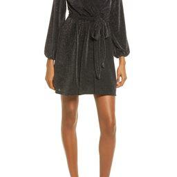 Glitter Wrap Front Long Sleeve Minidress | Nordstrom