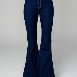 Moonshine High-Waisted Flare Jeans - Dark Wash | BuddyLove