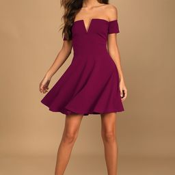 Play the Party Plum Purple Off-the-Shoulder Skater Dress   Lulus (US)