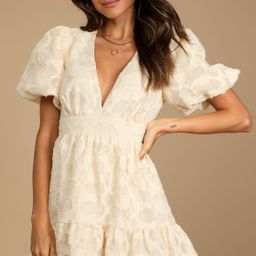 So Sweet To Me Cream Floral Puff Sleeve Mini Dress | Lulus (US)