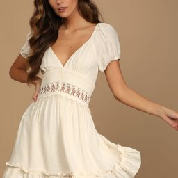 Better With You Cream Lace Puff Sleeve Mini Dress | Lulus (US)