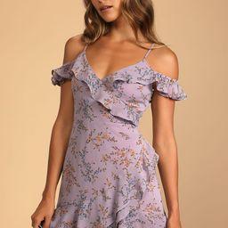 So Dreamy Purple Floral Off-the-Shoulder Ruffled Mini Dress   Lulus (US)