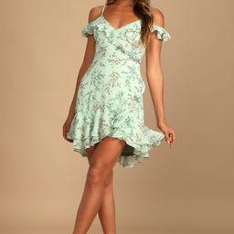 So Dreamy Mint Floral Print Off-the-Shoulder Ruffled Mini Dress   Lulus (US)