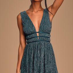 Smokeshow Teal Metallic Mini Dress | Lulus (US)