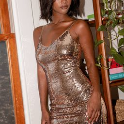 Glam Party Copper Sequin Bodycon Mini Dress | Lulus (US)