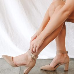 Molly Mae Taupe Suede Pointed-Toe Ankle Strap Pumps | Lulus (US)