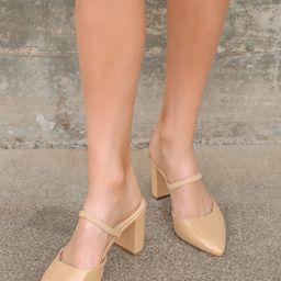 Maryna Blush Patent Pointed-Toe Mules | Lulus (US)