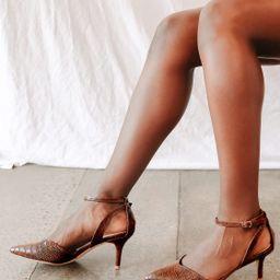 Scenaa Brown Crocodile Pointed-Toe Ankle-Strap Pumps | Lulus (US)