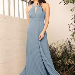 Ode to Romance Slate Blue Pleated Sleeveless Maxi Dress | Lulus (US)