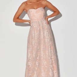Love Will Find A Way Peach Lace Strapless Maxi Dress | Lulus (US)
