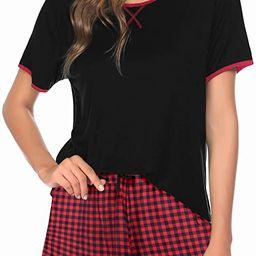 Ekouaer Pajamas Women Short Sleeve with Plaid Shorts Cute Sleepwear Teen Girl Cartoon Sleep Tee S... | Amazon (US)