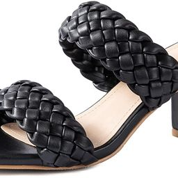 Women Heeled Sandals Woven Block Square-toe Leather Comfortable Strappy Casual Sandals | Amazon (US)