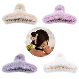 VinBee 4 PACK Large Faux Fur Hair Claw Clips Plush Hair Catch Barrette Jaw Clamp for Women Half B... | Amazon (US)
