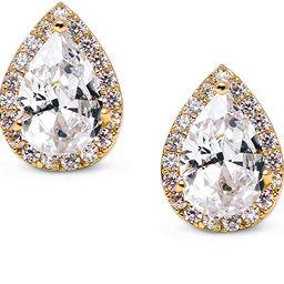 SWEETV Teardrop Bridal Earrings for Wedding, Prom - Elegant Cubic Zirconia Stud Earrings for wome... | Amazon (US)
