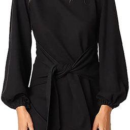 PRETTYGARDEN Women's Elegant Long Lantern Sleeve Short Dress Crewneck Tie Waist Knit Cocktail D... | Amazon (US)