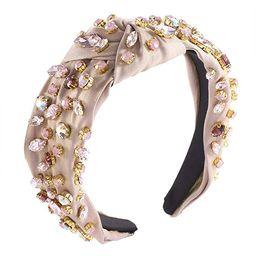 Crystal Velvet Headband Cross Knotted Turban Headdress Colorful rhinestone Statement Wide Hair Ba... | Amazon (US)