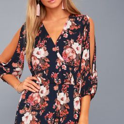 Luck and Love Navy Blue Floral Print Long Sleeve Romper   Lulus (US)