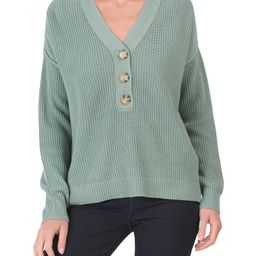 Rachel Zoe V Neck Henley Sweater With Texture   Marshalls