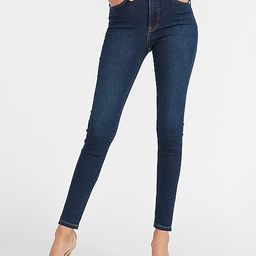 High Waisted Dark Wash Supersoft Skinny Jeans   Express
