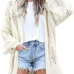 Gugean Womens Long Sleeve Open Front Crochet Cardigan Lightweight Soft Oversized Knit Sweater Out...   Amazon (US)