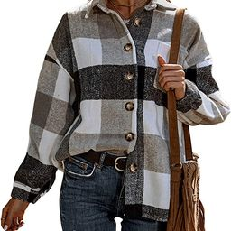 UANEO Womens Casual Plaid Button Down Long Sleeve Wool Blend Shirt Jacket Shackets   Amazon (US)