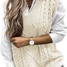 HOTAPEI Sweater Vest Women Oversized V Neck Sleeveless Sweaters Womens Cable Knit Tops   Amazon (US)