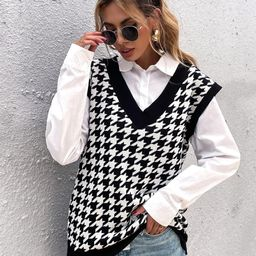 Houndstooth Pattern Sweater Vest Without Blouse   SHEIN