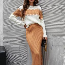 Colorblock Round Neck Sweater & Skirt Set   SHEIN
