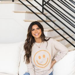 Smiley Face Light Tan Graphic Sweatshirt   The Pink Lily Boutique