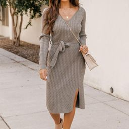 Before We Met Olive Cable Knit Belted Midi Dress   The Pink Lily Boutique