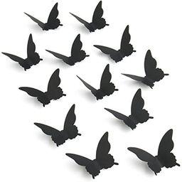 Luxbon 100Pcs 3D Paper Black Matt Effect Butterfly Wall Stickers Removable Butterflies Decor Wall... | Amazon (US)