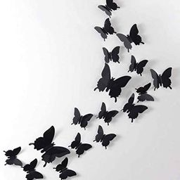 24pcs 3D Butterfly Removable Mural Stickers Wall Stickers Decal for Home and Room Decoration (Bla... | Amazon (US)