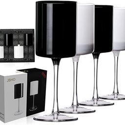 Wine glasses set of 4-Red wine and White wine glasses-Black and White Colored Wine glasses-Square... | Amazon (US)