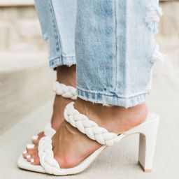 Hallie White Double Braided Block Heel | The Pink Lily Boutique