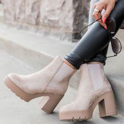 Barbra Beige Suede Platform Booties | The Pink Lily Boutique